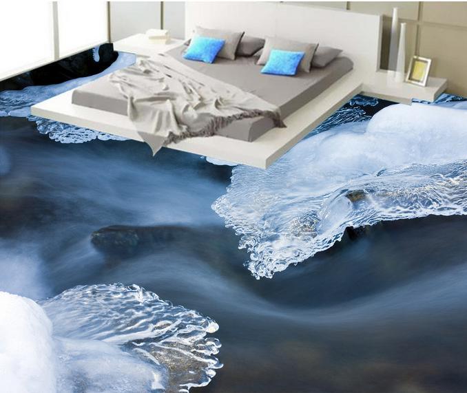 3d Flooring Customized HD Ice Water Wallpaper Living Room Floor Tiles Stereoscopic