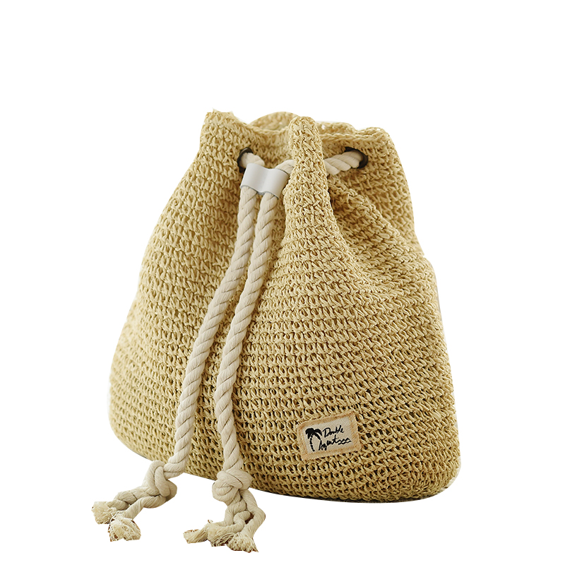 New Fashion Drawstring Crochet Straw Beach Bags Sommar Kvinnor Double Shoulder Bags Blommönster Handgjord Straw BP0005