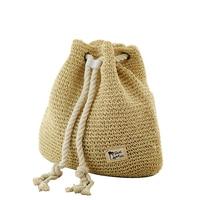 New Fashion Drawstring Crochet Straw Beach Bags Summer Women Double Shoulder Bags Floral Pattern Handmade Straw