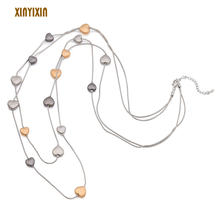 Разноцветное милое длинное ожерелье с сердечками для женщин