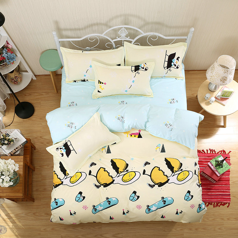 4 Pieces / Set Of 3D Bedding Suite Large Cartoon Cute Broken Eggs Plus Skateboard Printing Pattern Quilt + Bed + Pillowcase
