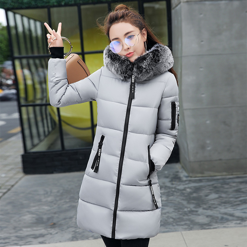2017 New Winter Coat Women Slim Female Jacket Thicken Solid Parka Hooded Warm Cotton Slim Long Jacket Army Green Pink Outwear 10 colors winter parka 2017 new women velvet army green cotton warm wadded long thicken coat outwear big size s 3xl hot c79003a