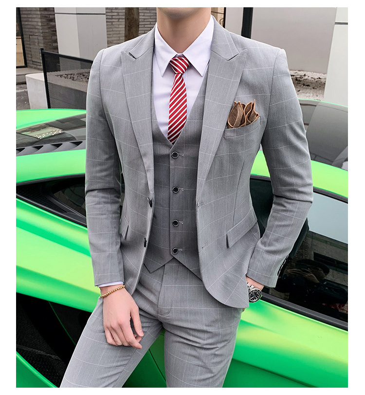 Men's Suits 2019 Spring Wedding Dress Business Formal Vintage Night Casual Tuxedo Plaid Slim Fit Sicngle Breasted Suits Men Set