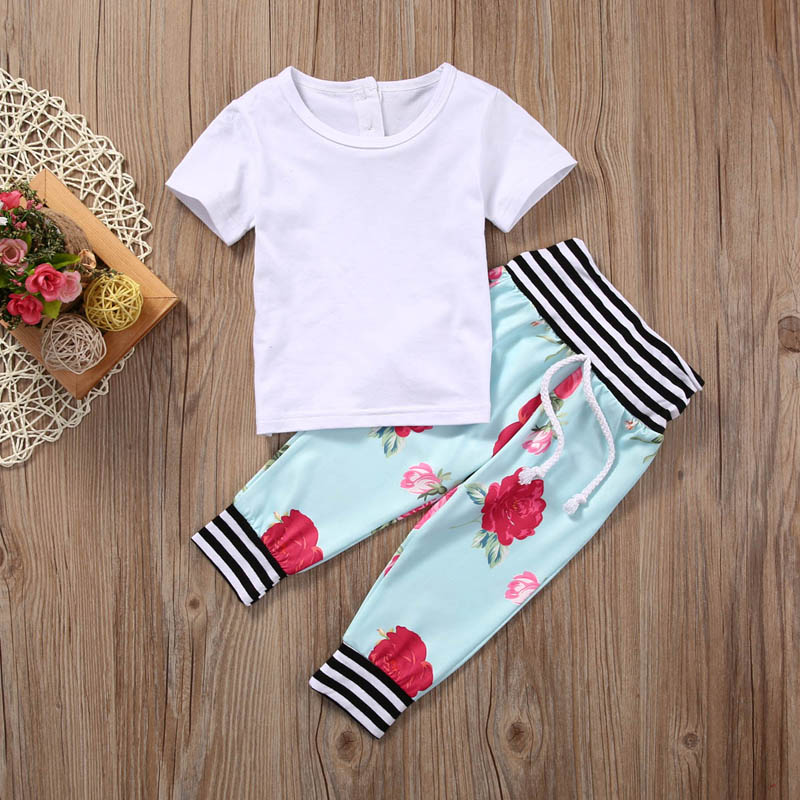 Newborn Baby Girls Boys Floral Clothes Short Sleeve T-shirt+Pants Legging Outfit