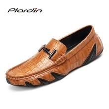 Plardin/Новая Всесезонная модная мужская Разделение удобные кожаные Повседневное украшения из металла плед Стиль Вышивание мужская кожаная обувь