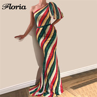 Rainbow Color Mermaid Evening Dresses 2018 Arabic Aibye Muslim Formal Prom Dress With One Shoulder Robe de soiree Party Gowns