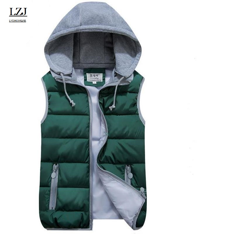 LZJ Women Cotton Wool Collar Hooded Down Vest Removable Hat Female Thicken Winter Warm Black Jacket Outerwear New plus size M1