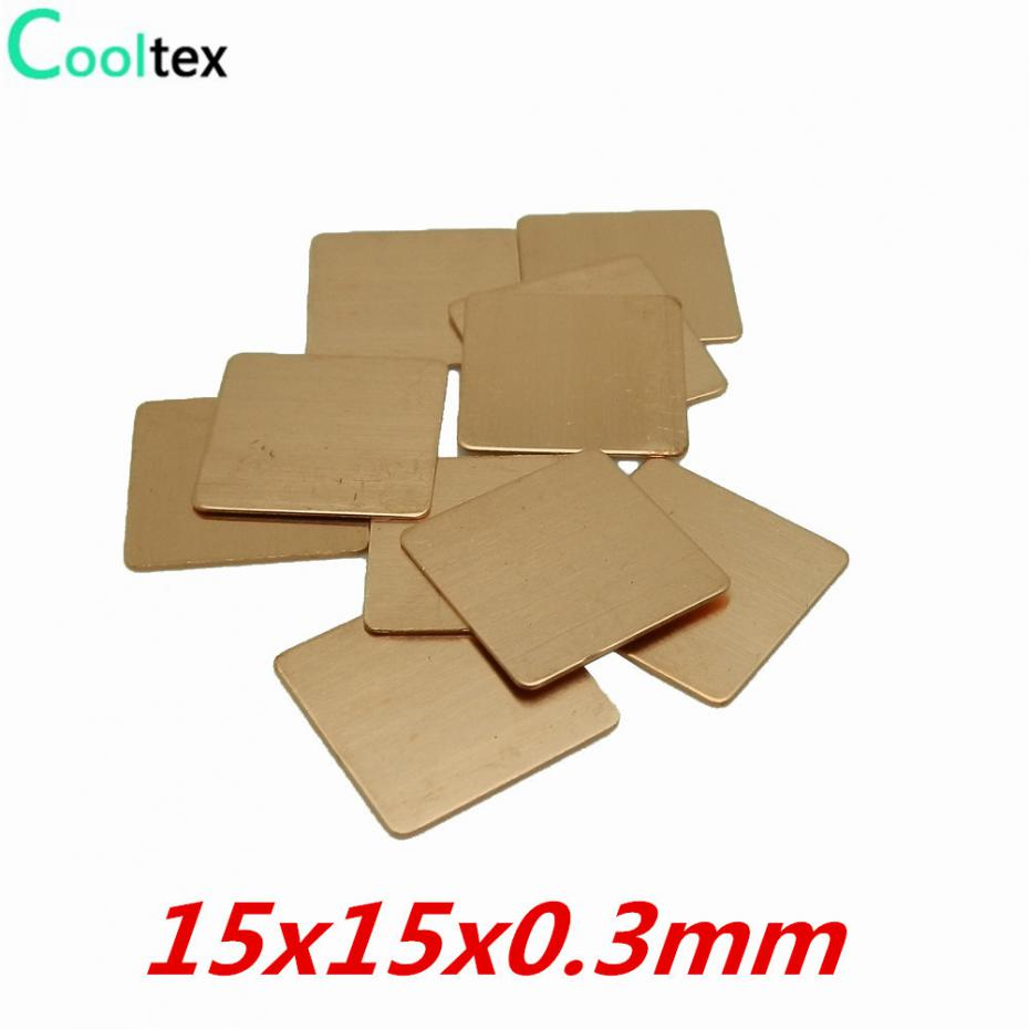 все цены на 20pcs/lot 15x15x0.3mm DIY Copper Heat Sink Shim Heatsink Sheet Thermal Pad For Laptop GPU CPU VGA Chip RAM
