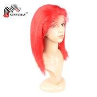 Полное кружева парики человеческих волос красного цвета прямо боб парик бразильский Virgin волос предварительно сорвал полные парики шнурка