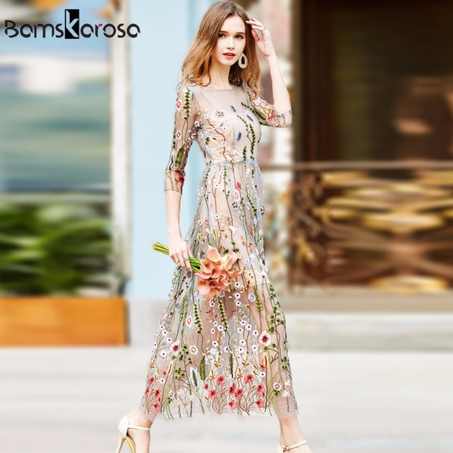 Floral Mesh Embroidery Bohemian Dress