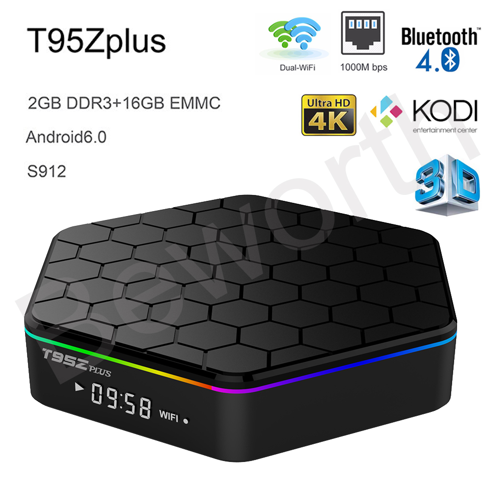 T95Z Plus Android 6.0 TV Box Amlogic S912 Octa Core Mini PC 2GB 16GB 3D Smart Media Player KODI Wifi Bluetooth 4K Dolby TVbox 2016 android tv box t10 smart mini pc amlogic s805 quad core 1g 8g 4k media player 3d home movie wifi kodi 16 0 fully loaded