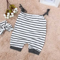 2017 Summer Jumpsuit Outfits Sunsuits Set Clothes Born Infant Baby Girls Sleeveles Romper Striped New