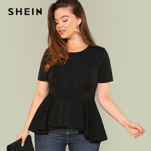 e8073900fdc97 SHEIN Ruffle Hem Solid Top 2018 Summer Round Neck Short Sleeve Ruffle  Casual Clothing Women Solid