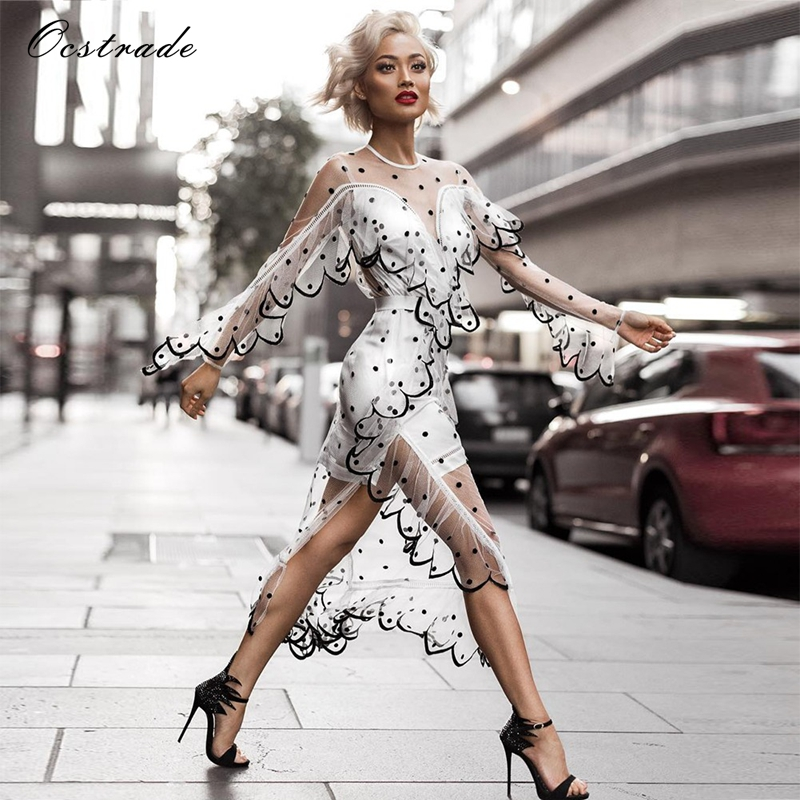 Ocstrade Sexy Party Dress Night Club Dress 2017 New Fashion White See Through Mesh Party Dress Long Length With Sleeves