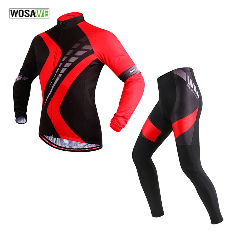 WOSAWE Spring & Autumn Men's Cycling Jersey Sets Long Sleeve Sportswear Bike Bicycle Jerseys With Tights 4D Padded Cycling Pants wosawe men s long sleeve cycling jersey sets breathable gel padded mtb tights sportswear for all season cycling clothings