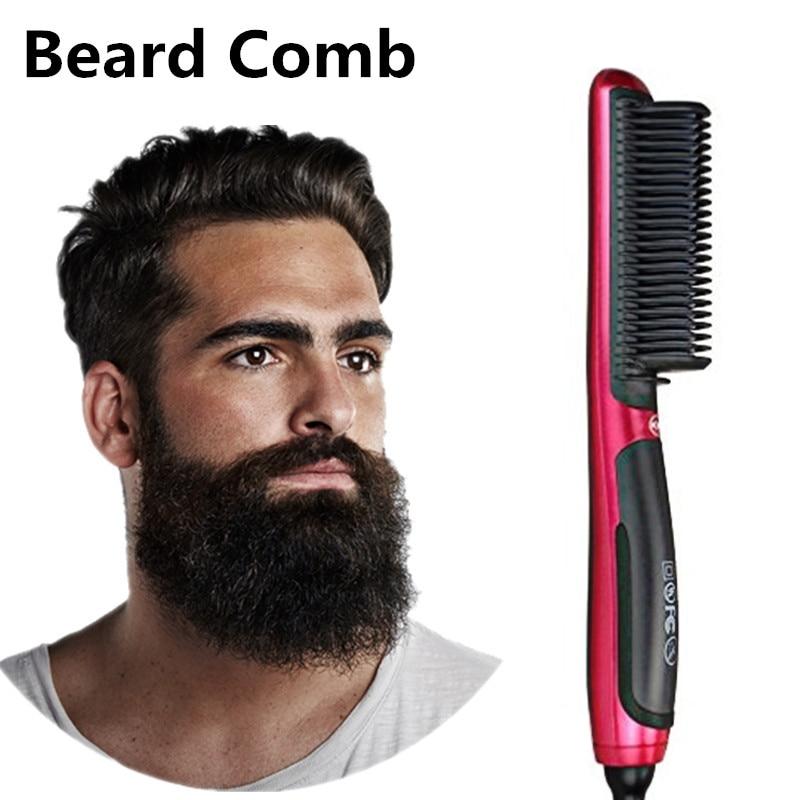 Men's Quick Beard Straightener Brush Fast Detangling Electric Comb Ceramic Heating Anti-static Anti-scald Comb Hair Styling Comb Crease-Resistance