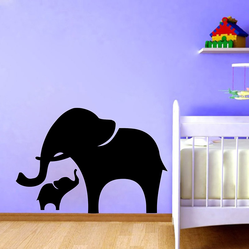 Us 11 49 6 Off Mama And Baby Elephant Wall Decal Vinyl Stickers Nursery Animal Art Decor Free Shipping P2040 In From