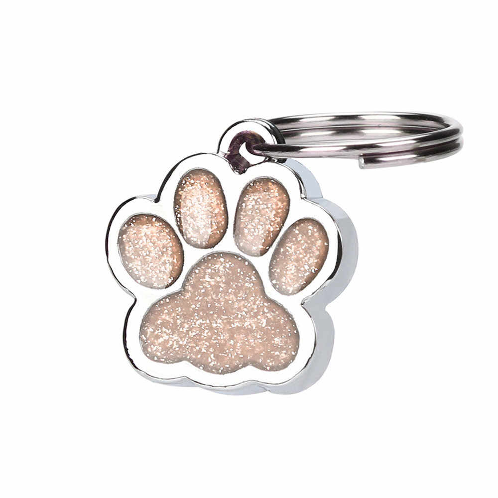 Kucing PET ID Tag Reflektif Pribadi Terukir Glitter Cetak: Anjing Kecil Kalung Kerah Jaringan Aksesoris