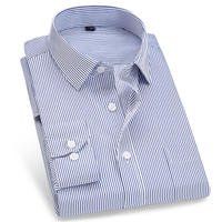 Men S Long Sleeve Pinstriped Twill Dress Shirt With Chest Pocket Plus Size Male Tops Formal