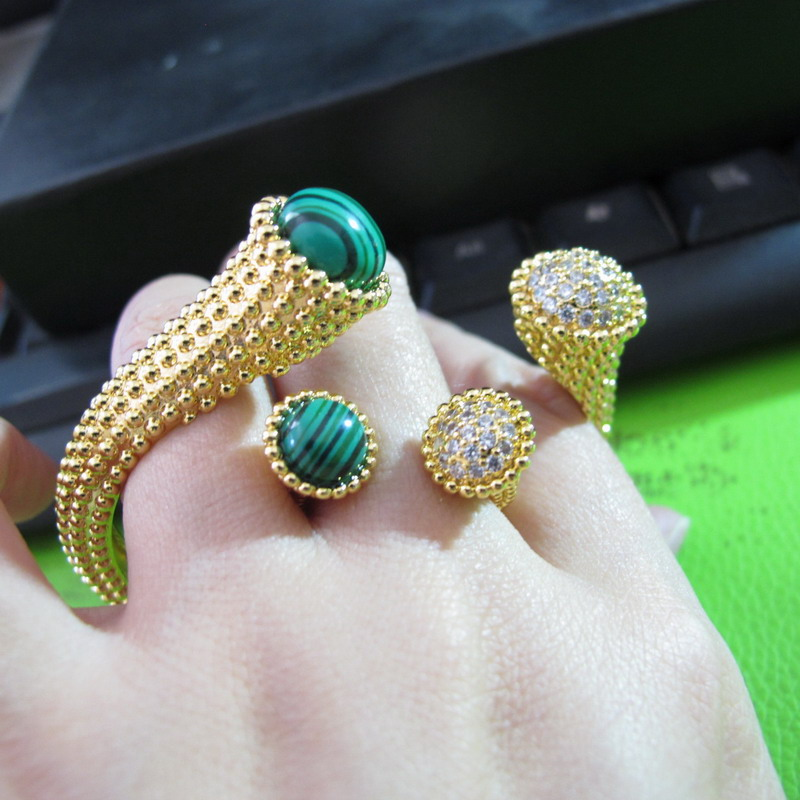 Zircon Stone GREENcolor Round Head Cuff Bangle Bracelet Bijoux Rings Banquet Party Jewellery Sets