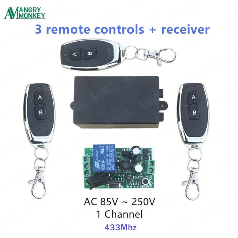 433Mhz Universal Wireless Remote Control Switch AC 110V 220V 1 Channel Relay Receiver Module and RF 433 Mhz Remote Controls wireless pager system 433 92mhz wireless restaurant table buzzer with monitor and watch receiver 3 display 42 call button