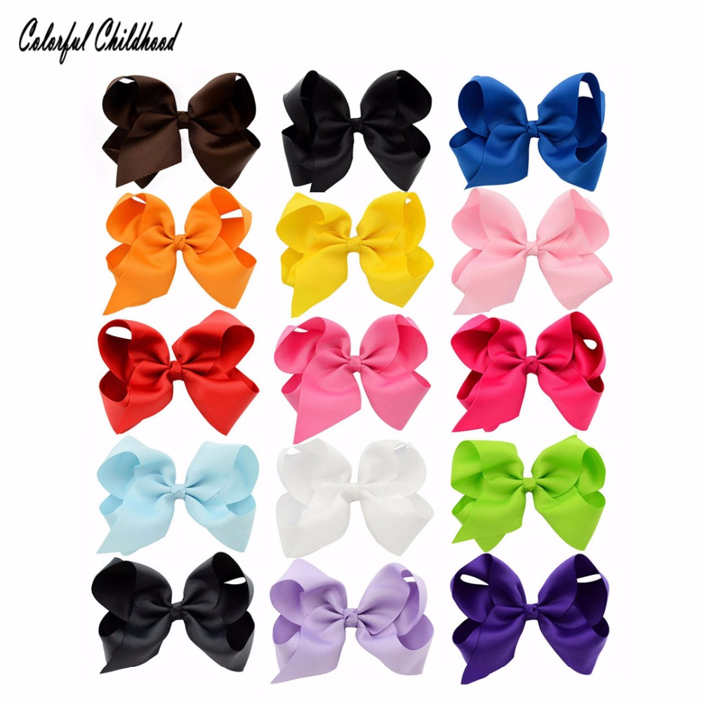 Clearance 15pcs/lot 6inch Big Hair Bow for Girls Solid Ribbon Hair Bows With Clip Boutique Hair Accessories Kids toddler Hairpin