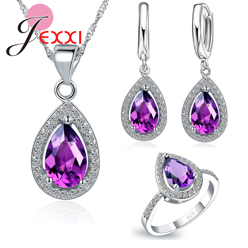 Elegant 925 Sterling Silver Original Wedding Jewelry Set Water Drop Pendant Necklace Earrings Rings AAA Zircon Size 6 7 8 9