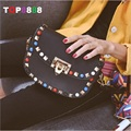 Colorful Turquoise Design Small Bags New Lady Fashion Rivets Shoulder Handbags European American Woman Mini Flap Girl Bags H054