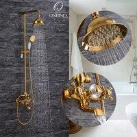 Niemiecki online europejskiej antyczne pełne miedzi i złota prysznic kran kran prysznicowy montowany na ścianie