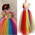 Girls Full & Fluffy Birthday Rainbow Tutu Dress Handmade Flowers Summer Tutu Dress for Photo Wedding Party Christmas TS096