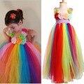Niñas Completo y Mullido Cumpleaños Rainbow Tutu Vestido de Flores Hechas A Mano Vestido Del Tutú Del Verano para la Foto Del Banquete de Boda de Navidad TS096