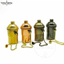 Vintage Chain Lamp Socket Edison Screw Bulb Bases E27 Lamp Holder Copper Core Knob Switch 250V UL Pendant Light Lamp Base 1PC