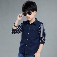 Children's Wear Boys Shirt Long Sleeve Autumn Wear Children's Casual Kids Striped Shirt 4-12 Ages Navy Blue White Kids Stripe