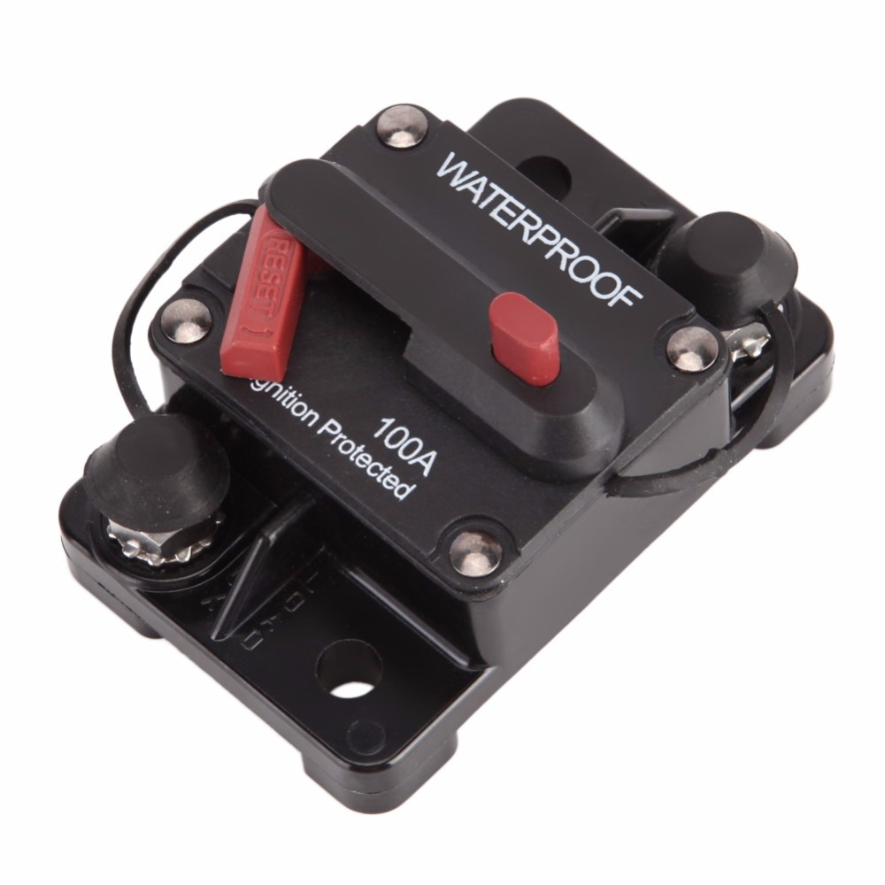 100 Amp Circuit Breaker 12V/24V Waterproof Manual Reset Flush-Mount Power Socket w/ Switchable ON/OFF Protector Car Accessories