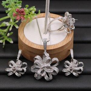 Image 2 - Lanyika תכשיטי סט מוגזמת חינני סרט פרח מיקרו מצופה שרשרת עם עגילים וטבעת אירוסין פופולרי מתנות