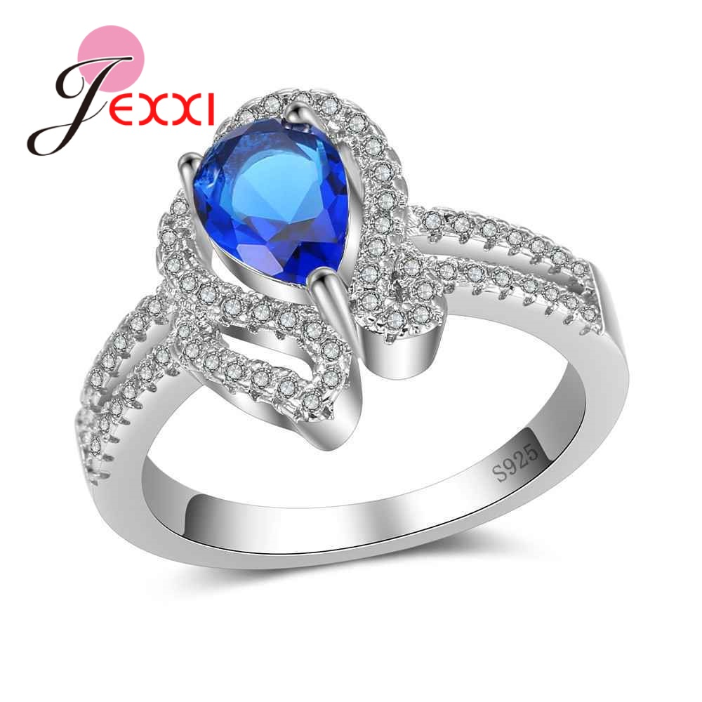 JEXXI Romantic Pave Setting Super Shiny Cubic Zirconia Crystal Jewelry Finger Rings For Women Ladies 925 Sterling Silver Gift