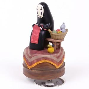 Image 4 - Anime Cartoon Miyazaki Hayao Spirited Away No Face Music Box PVC Action Figure Collection Toy Doll 12cm