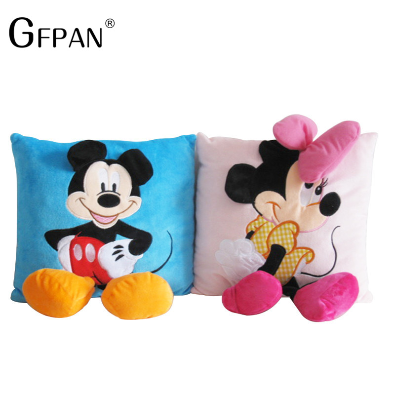 2pcs 35*35cm Mickey Mouse and Minnie plush Pillow Cushion,Cartoon Mickey Mouse and Minnie Pillow Car Cushion Free Shipping ролевые игры simba тостер minnie mouse
