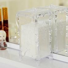 New Design Vintage Style Clear Acrylic Cotton Pads Boxes Cosmetic Makeup Tool Storage Holder Storage Box
