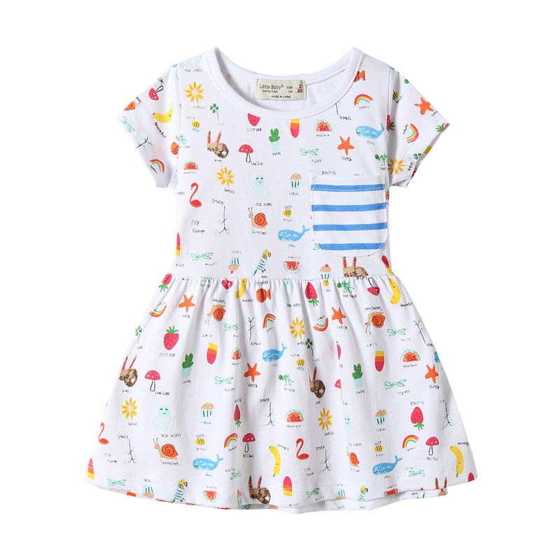 2-7T Baby girls summer dresses cute hot children clothes all print knitted short-sleeved girl frocks kids casual wear little
