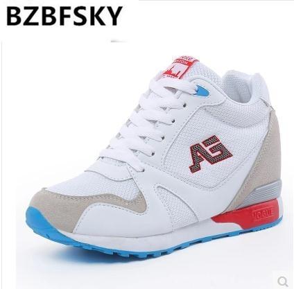 Ladies White High Heel Wedge Sneakers Women Platform Shoes Female Gumshoe Basket Femme 2018 Tenis Feminino