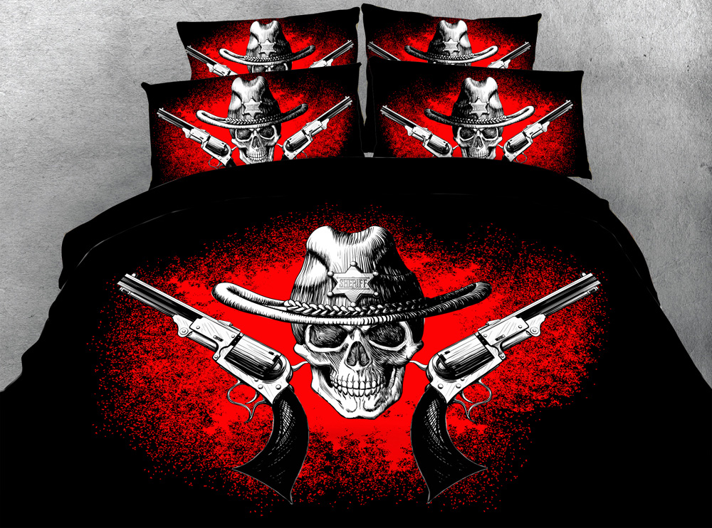 Jf 027 Cool Skull And Gun Print 3d Bed Sheet Set Queen