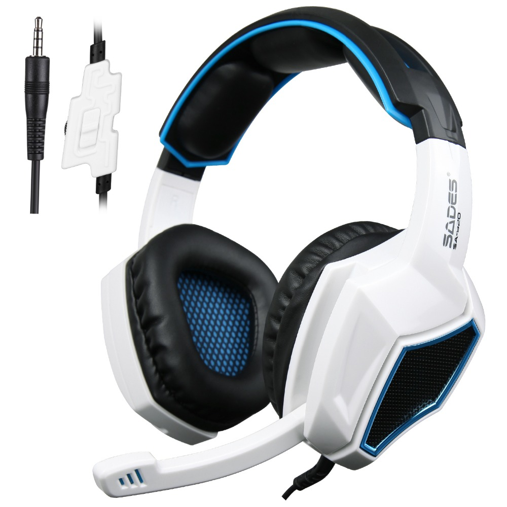Sades SA920 PS4 PC Gamer Game Headset 3 in1 Stereo Gaming Headphones with Mic Volume Control for Mobile Phone Xbox360 Tablet 3 in 1 sades sa922 pro gaming headset 7 1 surround sound stereo headphones earphones casque with mic for xbox 360 ps3 pc gamer