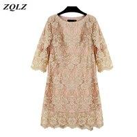 ZQLZ 2018 Summer Plus Szie 5xl Women Lace Dress Elegant Evening Party Sexy Vintage Dresses O Neck Embroidery Floral Dress