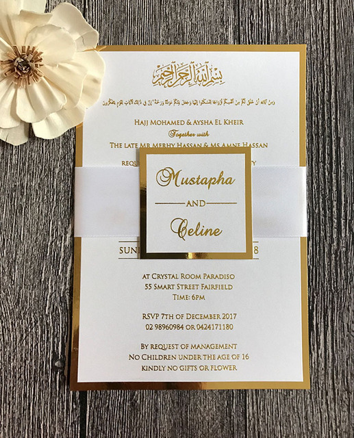 Gold Foil Print Wedding Invitations With Satin Ribbon Belly Band And