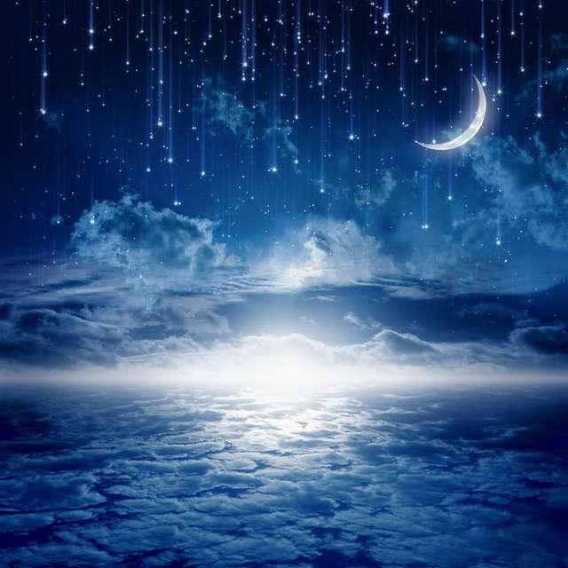 10x10FT Blue Starry Night Sky Clouds Glitter Star Crescent