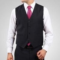 S 4XL V Neck Mens Suit Vest Dress Brand Clothing Business Casual Slim Wedding Waistcoats Formal Vest Black Colete