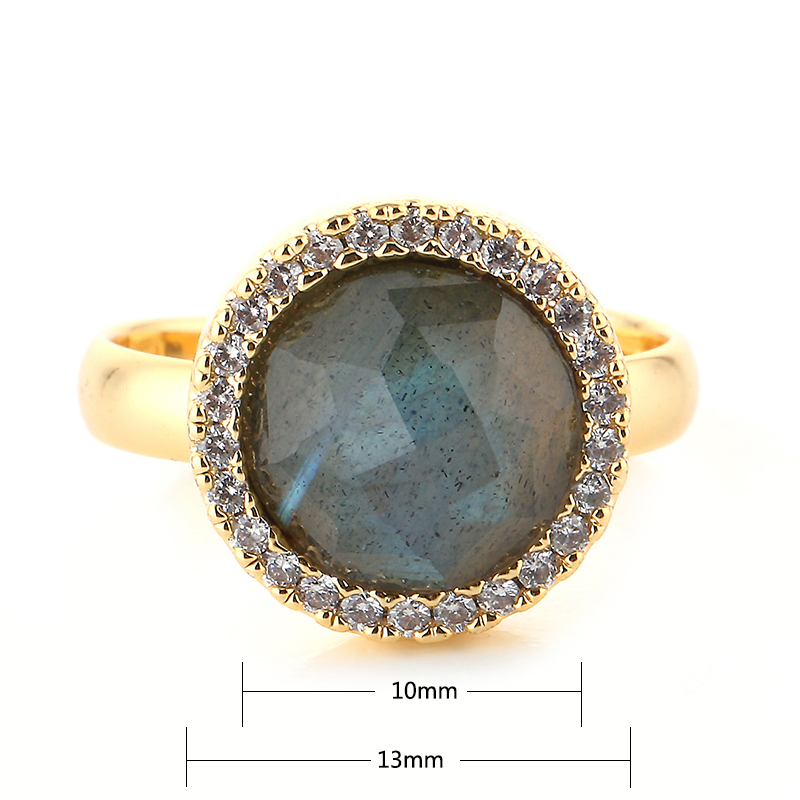 Round Zircon Gold Luxury Ring 13mm Labradorite Stone Adjustable Gold Wedding Rings Vintage Charm Jewelry