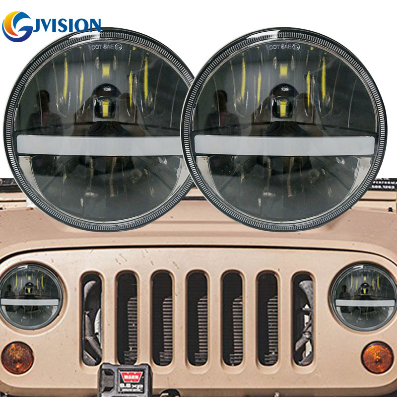 2017 Newest 7 inch Round Wrangler LED Headlight Auto DRL Headlamp for Jeep JK TJ Lada Niva OffRoad 12V 7'' led Driving lights windshield pillar mount grab handles for jeep wrangler jk and jku unlimited solid mount grab textured steel bar front fits jeep