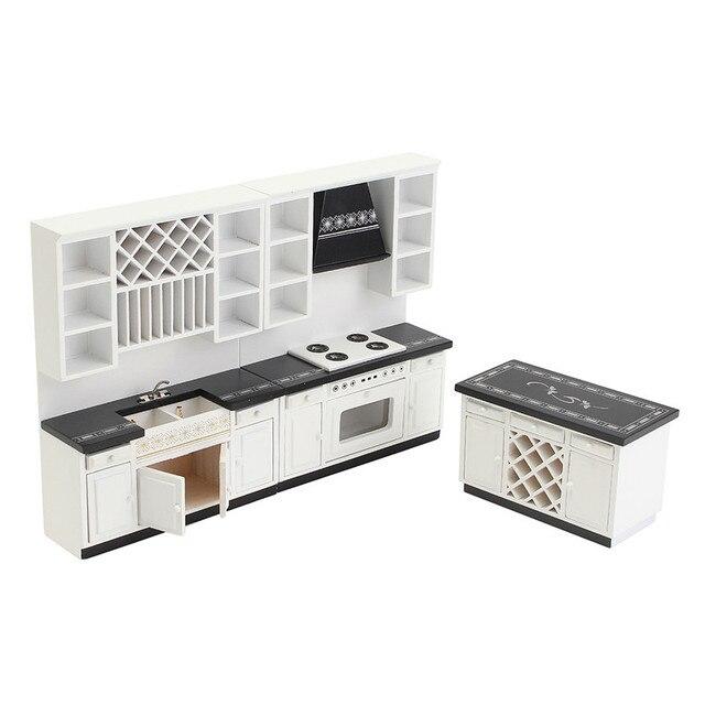 Diy Dollhouse Miniature Kitchen Furniture White Wooden Cabinet
